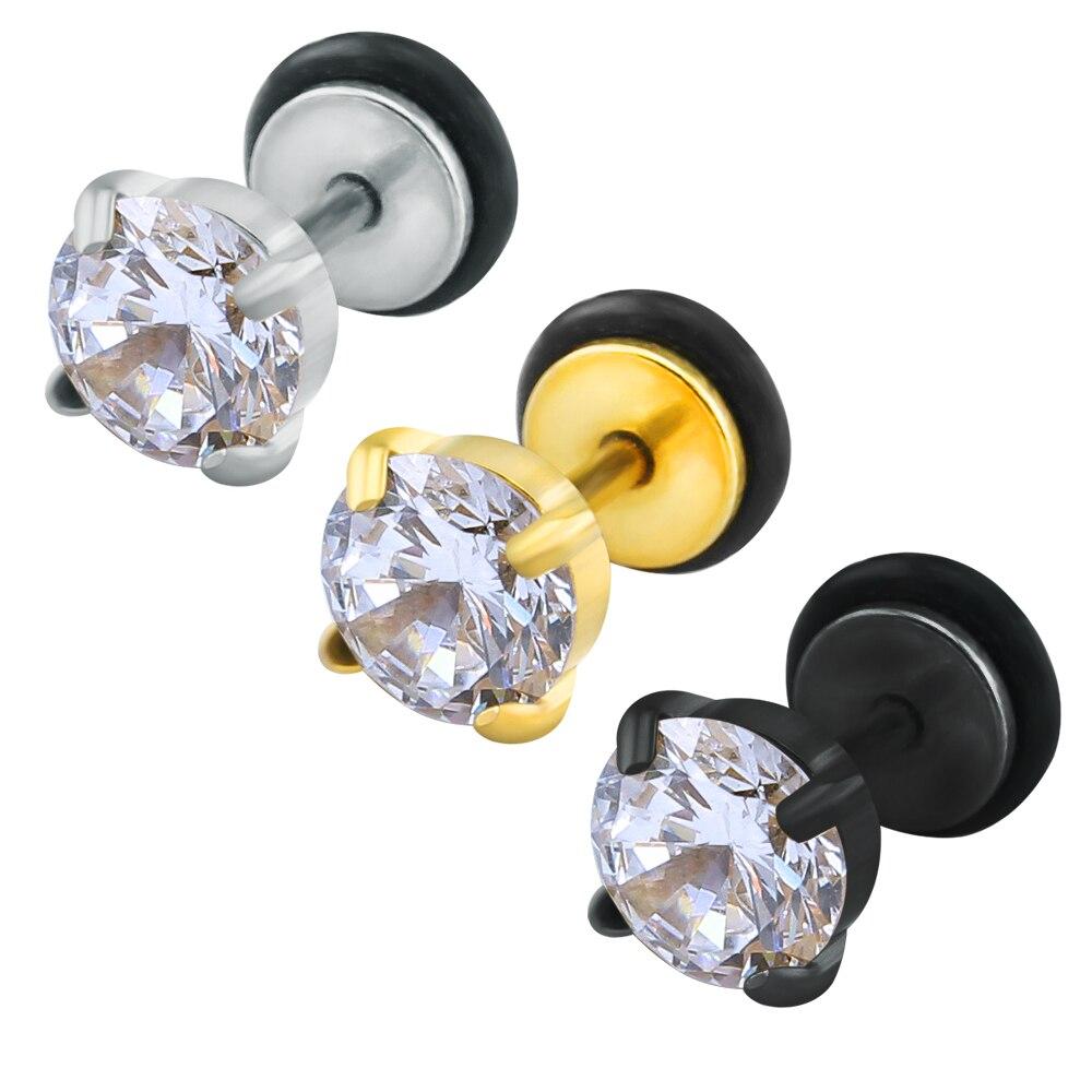 Boucles d'oreilles zircon cubique cz punk boucles d'oreilles noir bijoux acier inoxydable boucles d'oreilles petits hommes femmes pointes métalliques vis mâle