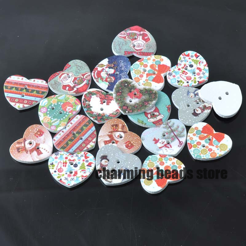 Mixed christmas painted wooden heart decorative buttons for Decorative pins for crafts