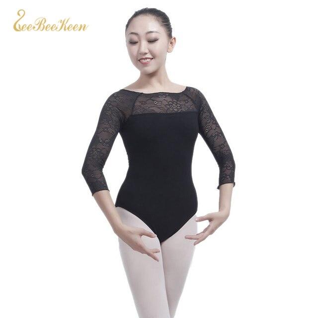 Half Sleeved Lace Gymnastics Leotard Ballet Dance Costume Professional Ballet Leotards For Women Adult Ballerina Dancing Clothes