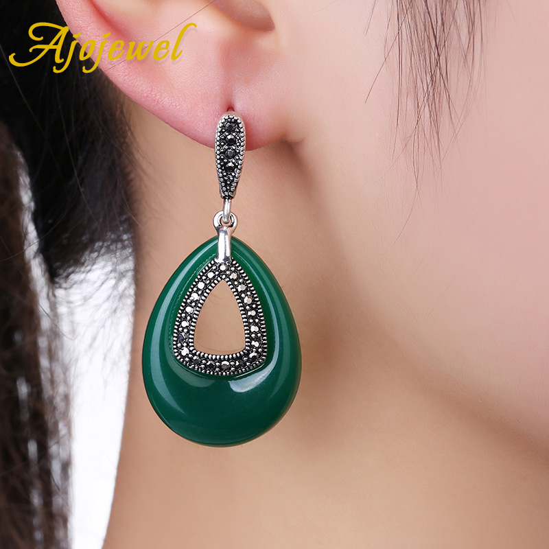Ajojewel Perhiasan Vintage CZ Hijau Resin Big Water Drop Earrings - Perhiasan fashion - Foto 2