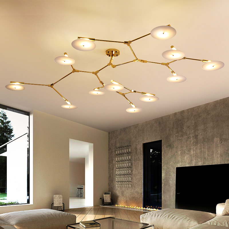 Lights & Lighting Modern Led Chandeliers Lighting Glass Suspended Lamps Luxury Deco Fixtures Living Room Pendant Luminaires Bedroom Hanging Lights Ceiling Lights & Fans
