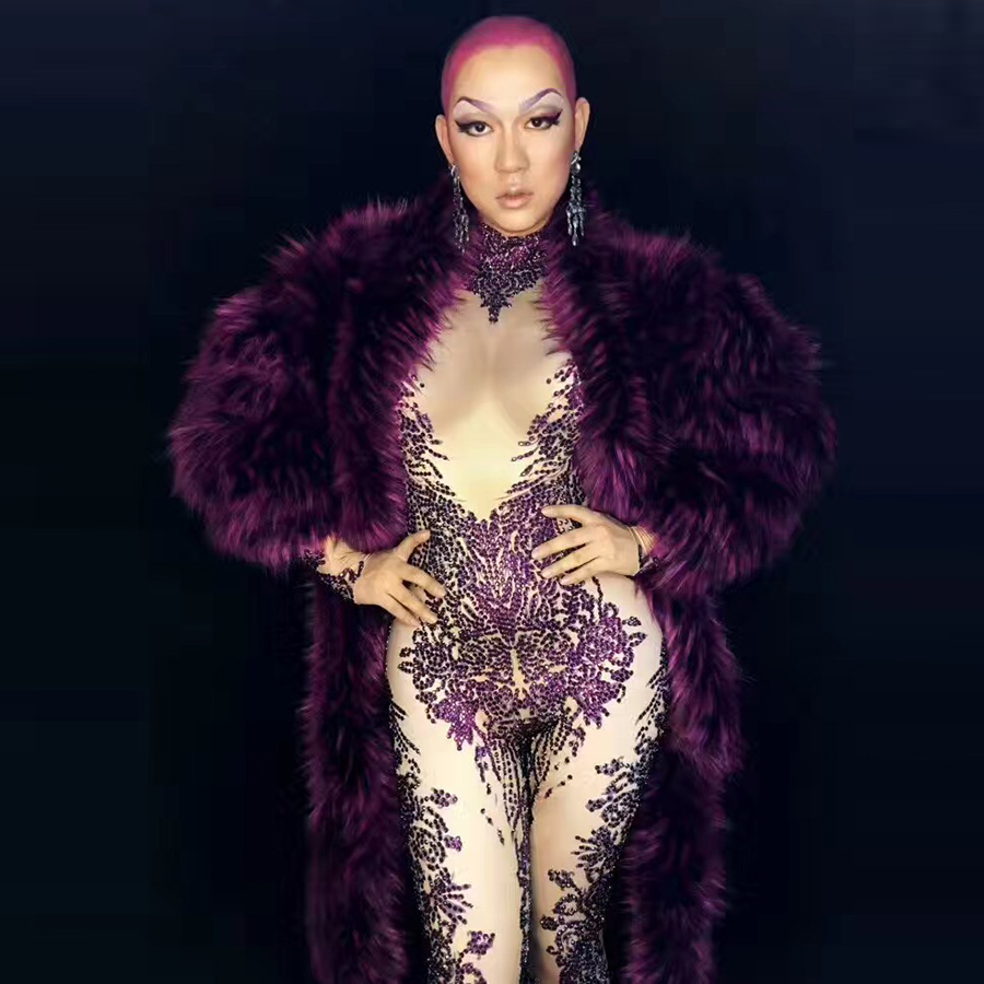 Female Singer Stage Costume Women Red Fur Stage Bodysuit Singers DJ DS JAZZ Sexy Dance Outfit Jumpsuits Performances Wear Show