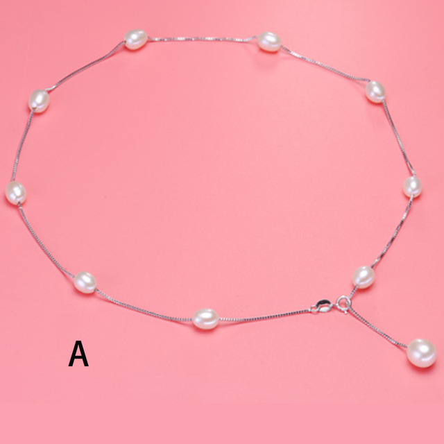 2017 New  Addition. Fashionable Natural Pearl Jewelry Choker Necklace. 925 Sterling Silver Chain And Pearl Necklaces & Pendants