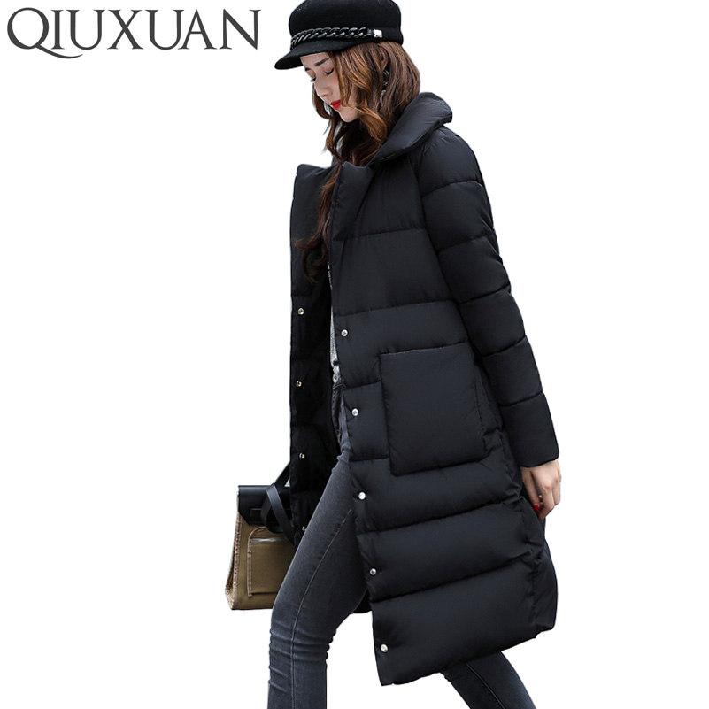 QIUXUAN Women Long Parkas 2017 Winter Warm Big Pocket Fashion Turn Down Collar Casual Cotton Coat Female Jacket Overcoat zoe saldana 2017 women winter jacket down cotton padded coats casual warm winter coat turn down collar long loose parkas