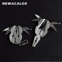 NEWACALOX Mini Multi Pliers EDC Screwdriver Kit Fold Survival Key chain Knives Portable Hunting Folding Pocket Outdoor Tools