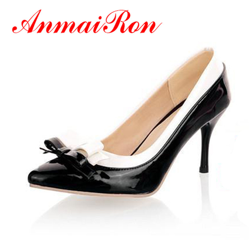 ANMAIRON Pointed Toe Vintage Sexy bow High <font><b>Heels</b></font> <font><b>Women</b></font> Pumps Shoes New Design Less Platform Pumps big <font><b>size</b></font> 34-45 Shoes <font><b>women</b></font> image