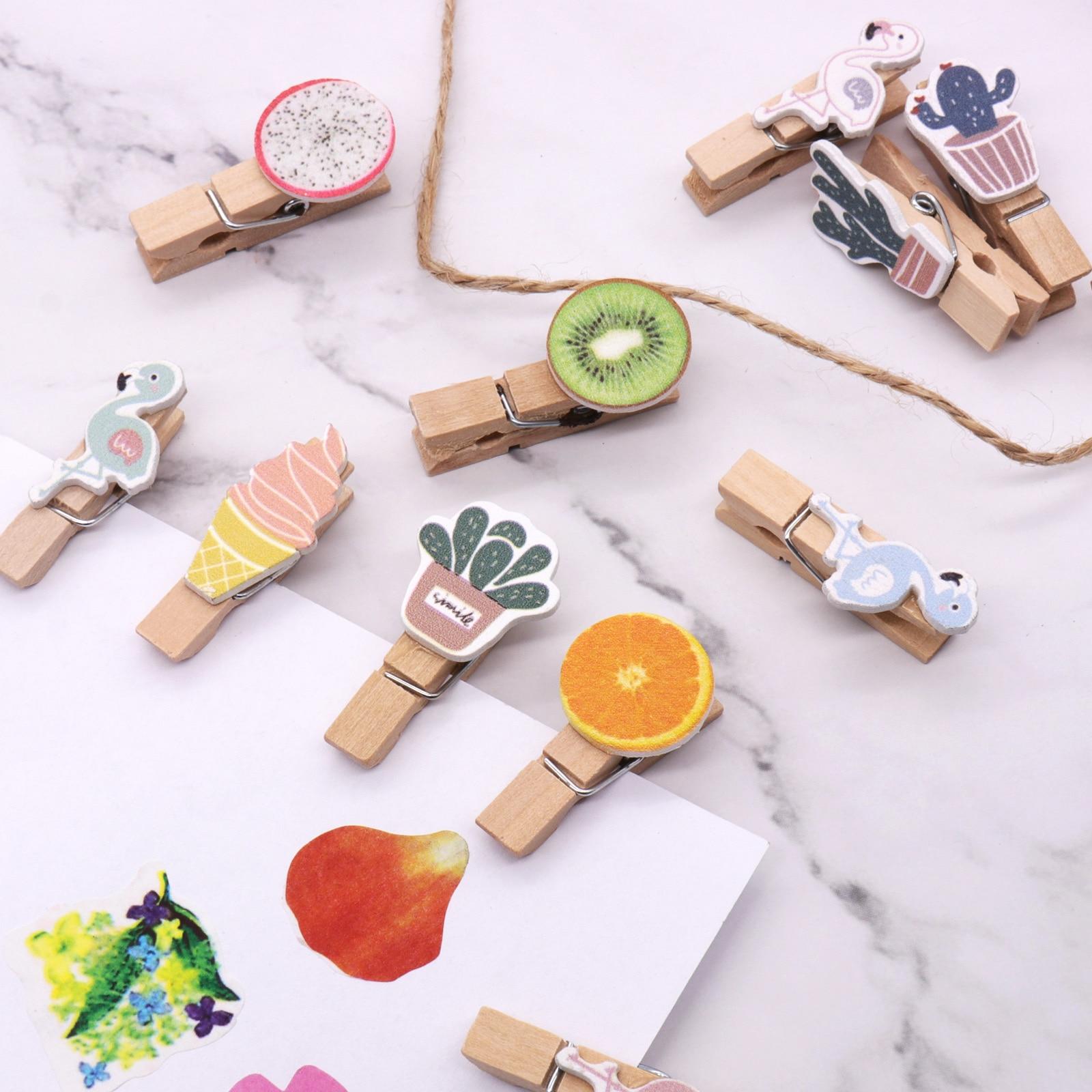 10Pcs Mini Creative Wooden Clothes Pin Birthday Wedding Photo Clips Peg Q