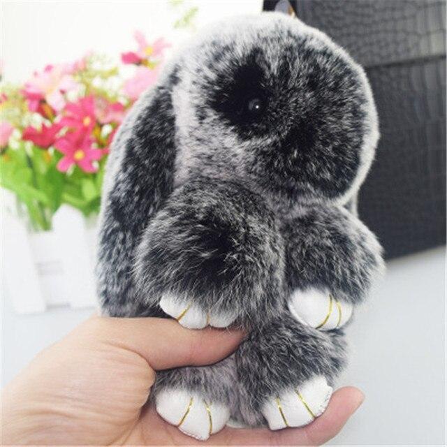 Rabbit Keychain Dễ Thương Mini Fluffy Bunny Keychain Bất Rabbit Fur súng  đại bác tự Keyring 7516f4e83