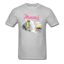 f9e9bc5bafdc Hawaii Meowi Surfer T-shirt Funny Men Clothes Holiday Tops Cat Printed Tees  Grey T Shirt Summer Tshirt Cotton Fabric