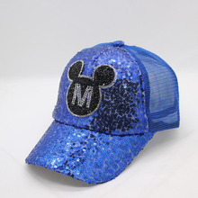 BINGYUANHAOXUAN Baseball Cap SnapBack Hats for Girls Big Baby Yarn Bow Sequins Kids Summer Mesh Sun Visor 3-8 Year Bone