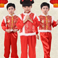 New Year Children Chinese Folk Dance Costumes Yangko Dancing Girls Dance Yangge Clothes Kids Opener Phoenix Peony Embroidery
