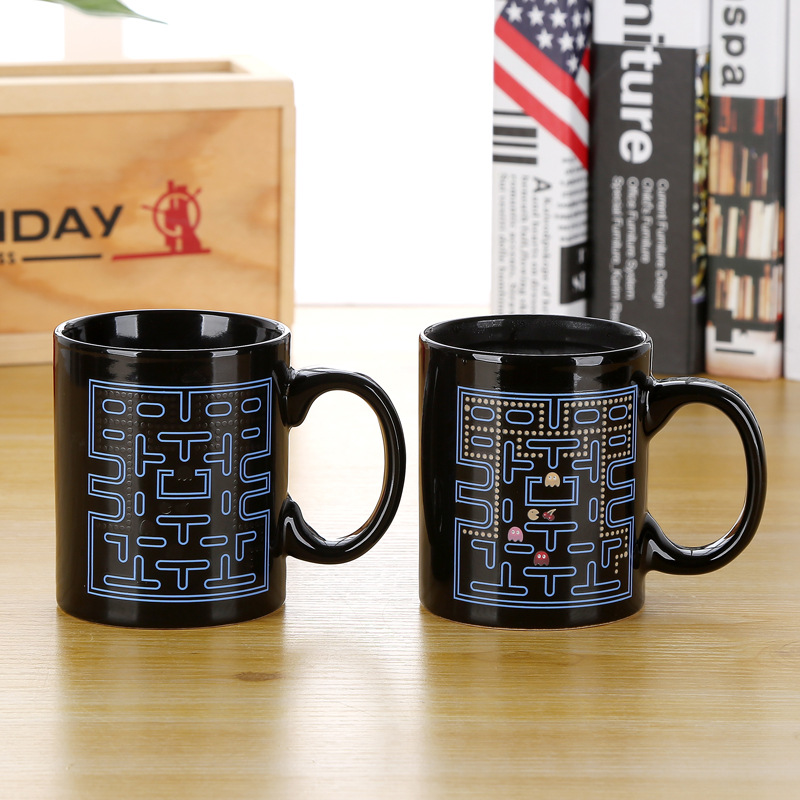 Promotion! Magic Color Change Ceramic Coffee Cup Pacman Style Morning Tea Mug Hot Water Color-changing Mug Good Gift