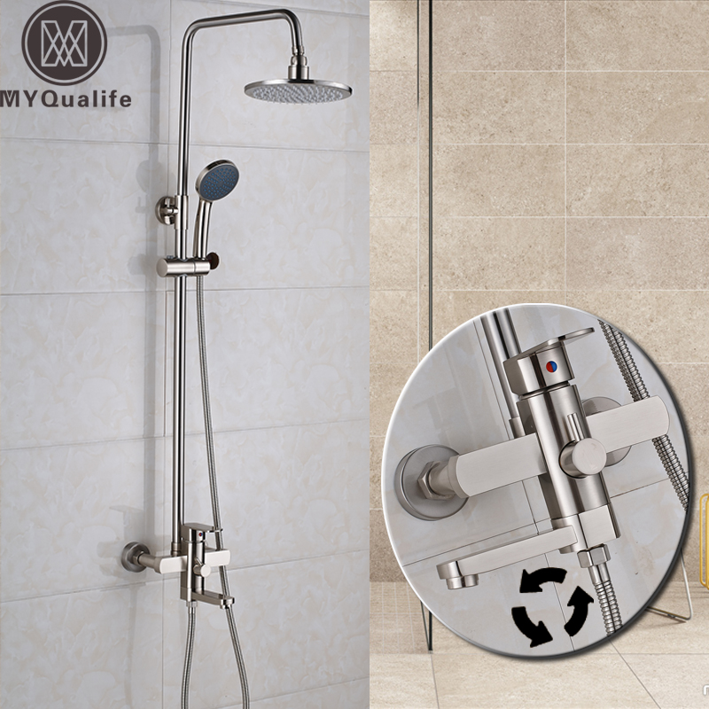 Nickel Brushed Shower Faucet Set Bathroom Wall Mounted Rinfall 8 Shower Head 3-ways Mixer Valve Shower Mixer Taps