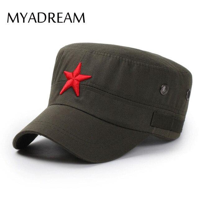MYADREAM 3D Estrela Vermelha Osso Bordado Tampão Militar Do Exército Preto  Verde Flat Top Hats para c4c75136c69