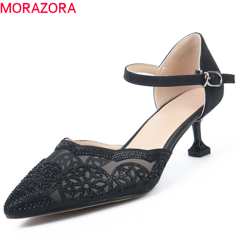 MORAZORA 2018 new arrival women pumps pointed toe summer shoes hollow out party wedding shoes sexy thin high heels shoes woman lakeshi new fashion pumps thin sexy high heeled shoes woman pointed suede hollow out bowknot sweet elegant women shoes