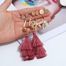 TTLIFE 6 Pairs/set Fashion Tassel Round Stud Earrings Set for Women Girls Trendy Mixed Pearl Statement Korean Long Sets