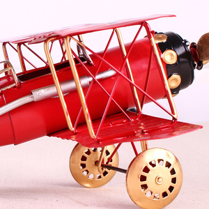 Image 4 - Vintage Metal Plane Home Ornaments Aircraft Model Toys For Children Airplane Miniature Models Retro Creative Home Decor