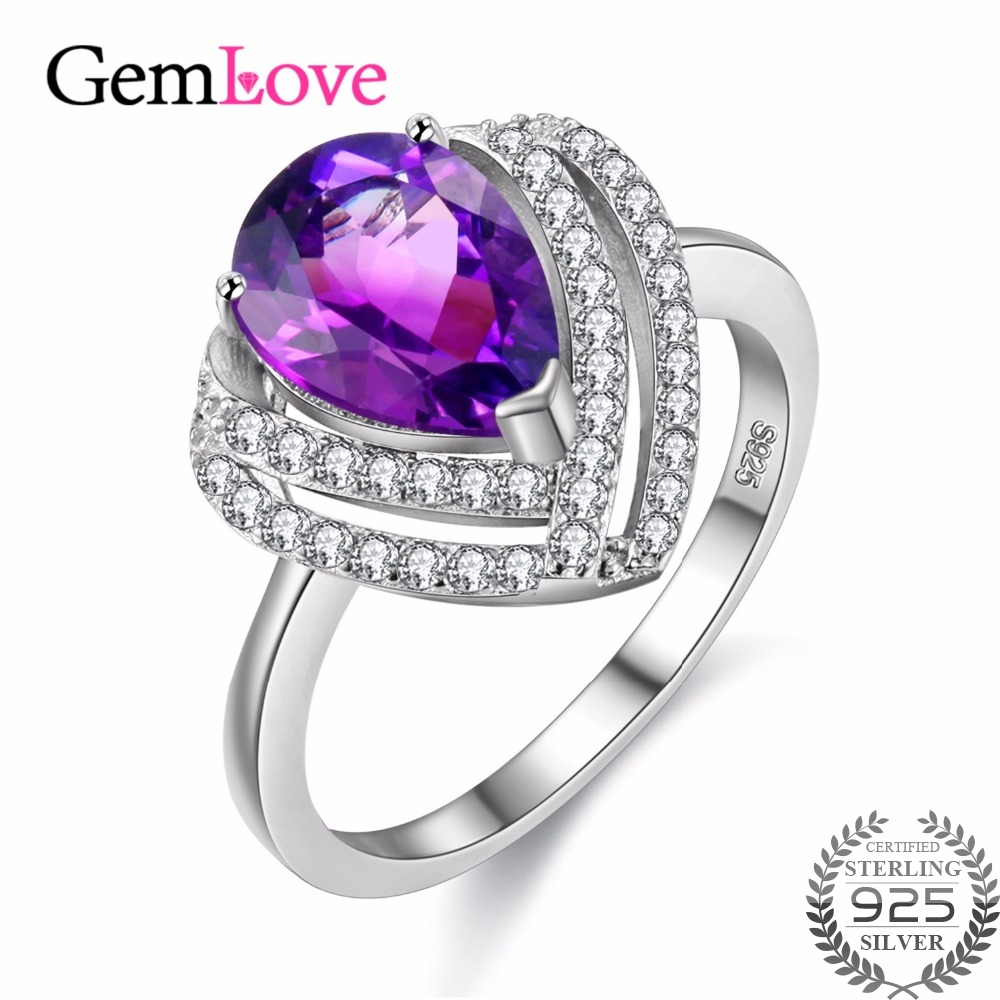 Gemlove Natural Gemstone Amethyst Ring 925 Sterling Silver Rings for Girls Women Bagues Gifts with Box
