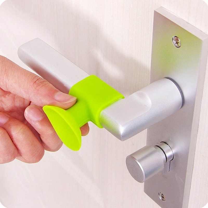 1 шт. Детская безопасность дверную ручку глушитель ночлега стены протекторы силиконовый стоппер для двери анти столкновения остановить товары 4 цвета