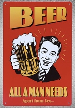 1 pc Beer all man needs apart sex bar served here Tin Plate Sign wall plaques cave Decoration Art Dropshipping Poster metal