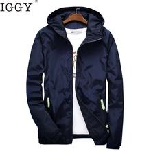 IGGY Size 6XL 5XL 7XL 2018 Spring Autumn Young Men Windbreaker Hooded Jacket Slim Thin Clothing