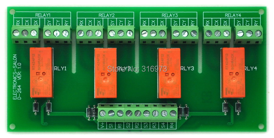 Passive Bistable/Latching 4 DPDT 8 Amp Power Relay Module, 12V Version, RT424F12