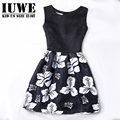 Summer Dress 2017 Dresses For Girls of 12 years Sleeveless Printed Flower Big Size Black Princess Dress Teenagers Kids Costumes