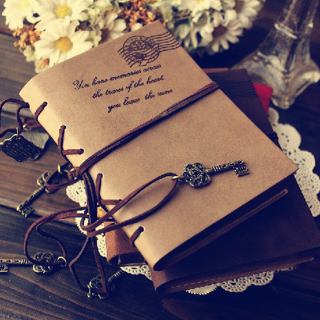 2017 Vintage Leather Notebook 320 pages Retro Journal Key Binding Diary Agenda Book Gold Side Sketchbook Stationery Gift 01646 maritime travel log classic vintage retro classic pu leather blank pages copper plated sea anchor and straps sketchbook notebook