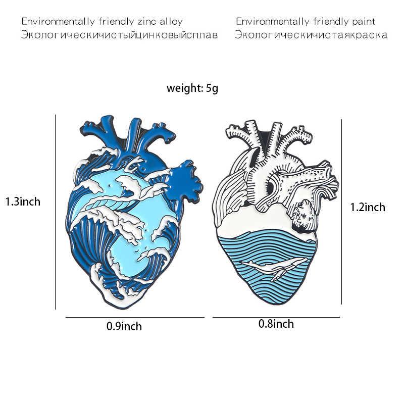 Menderu Gelombang Jantung Pin Kreatif Laut Biru Ikan Paus Lautan Hewan Enamel Kerah Pin Bros Organ Anatomi Lencana Kemeja Denim Perhiasan