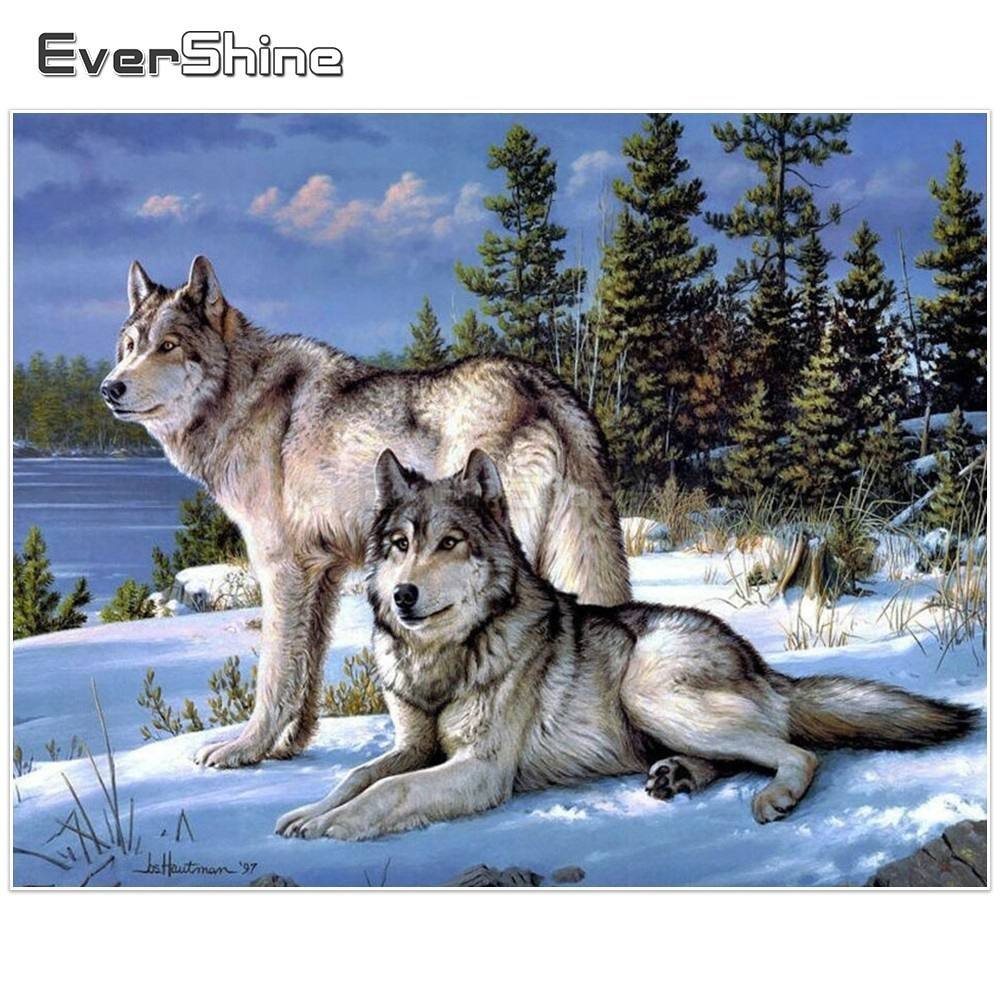 EverShine 5D Diamond Painting Full Square Snow Wolf Diamond Art Diamond Embroidery Pictures Rhinestones Mosaic Winter Animal