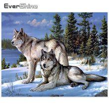 Evershine 5d pintura diamante quadrado cheio neve lobo diamante arte diamante bordado imagens strass mosaico inverno animal