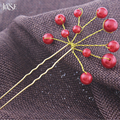 JINSE HCS028 Hair Jewelry Wedding Bridal Bridesmaid Red White Pearl Flower Hairpins Headpiece Hair Pins Clips Tiara 5pcs