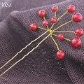 JINSE HCS028 Joyería Del Pelo Nupcial de La Boda de dama de Honor Rojo Blanco Flor de La Perla Horquillas Horquillas Para El Cabello Pinzas Para el cabello Tiara Celada 5 unids