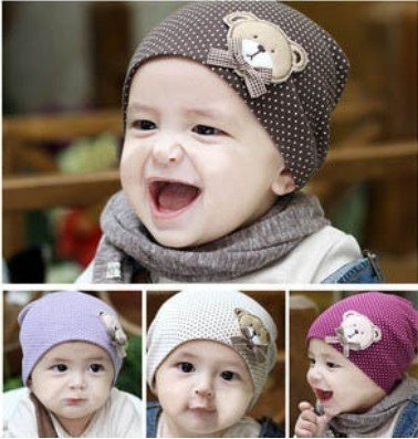 wholesale fashion baby bear pattern hat baby cap infant hat infant caps free shipping 2014 KH007