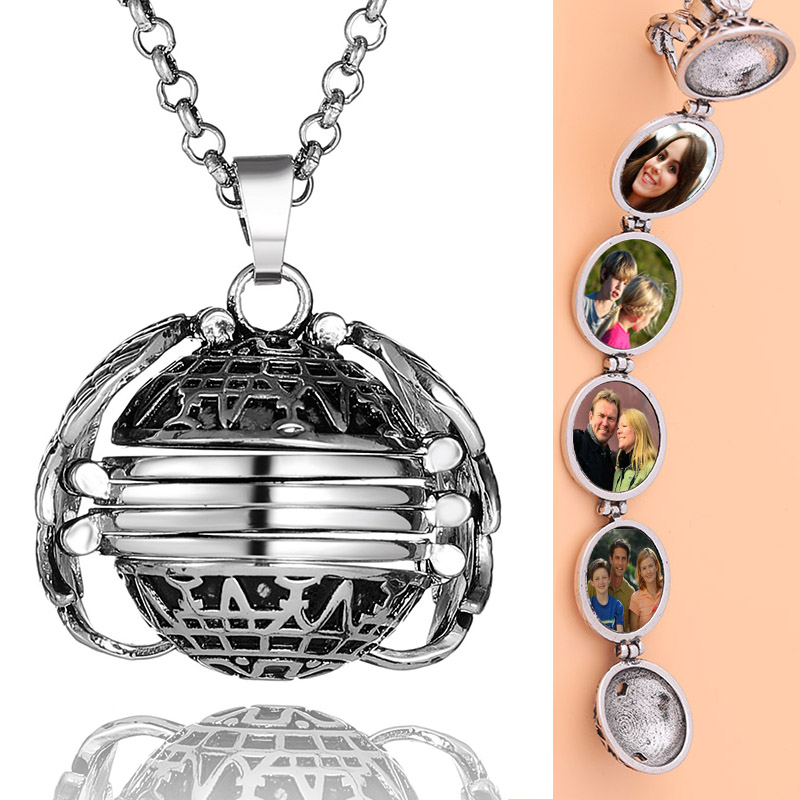 DIY Flash Memory Photo Pendant Jewelry Antique Silver Four-Color Angel Wings Locket Necklace Fashion Women Romantic Accessories