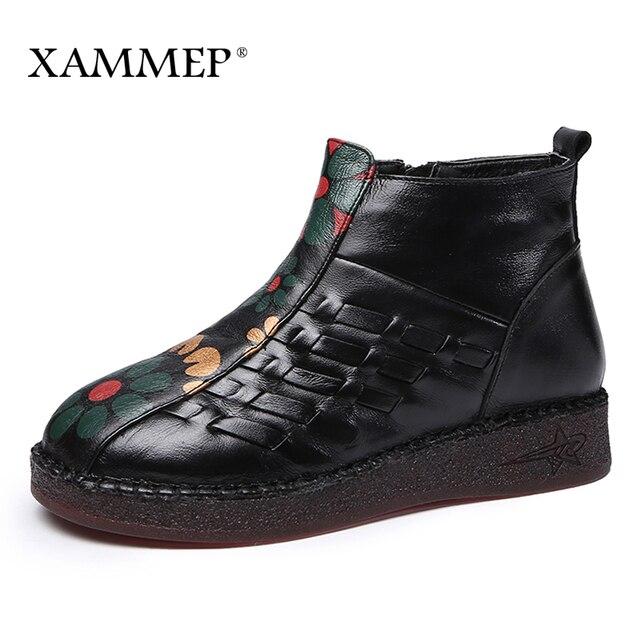 Женские ботинки из натуральной кожи, женская зимняя обувь, ботильоны, Брендовая женская обувь, зимняя обувь на платформе, высокое качество, плюш Xammep