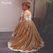 Платья с золотыми блестками для девочек, держащих букет невесты на свадьбе; кружевное платье с длинными рукавами для малышей; пышные платья с аппликацией; бальное платье на заказ