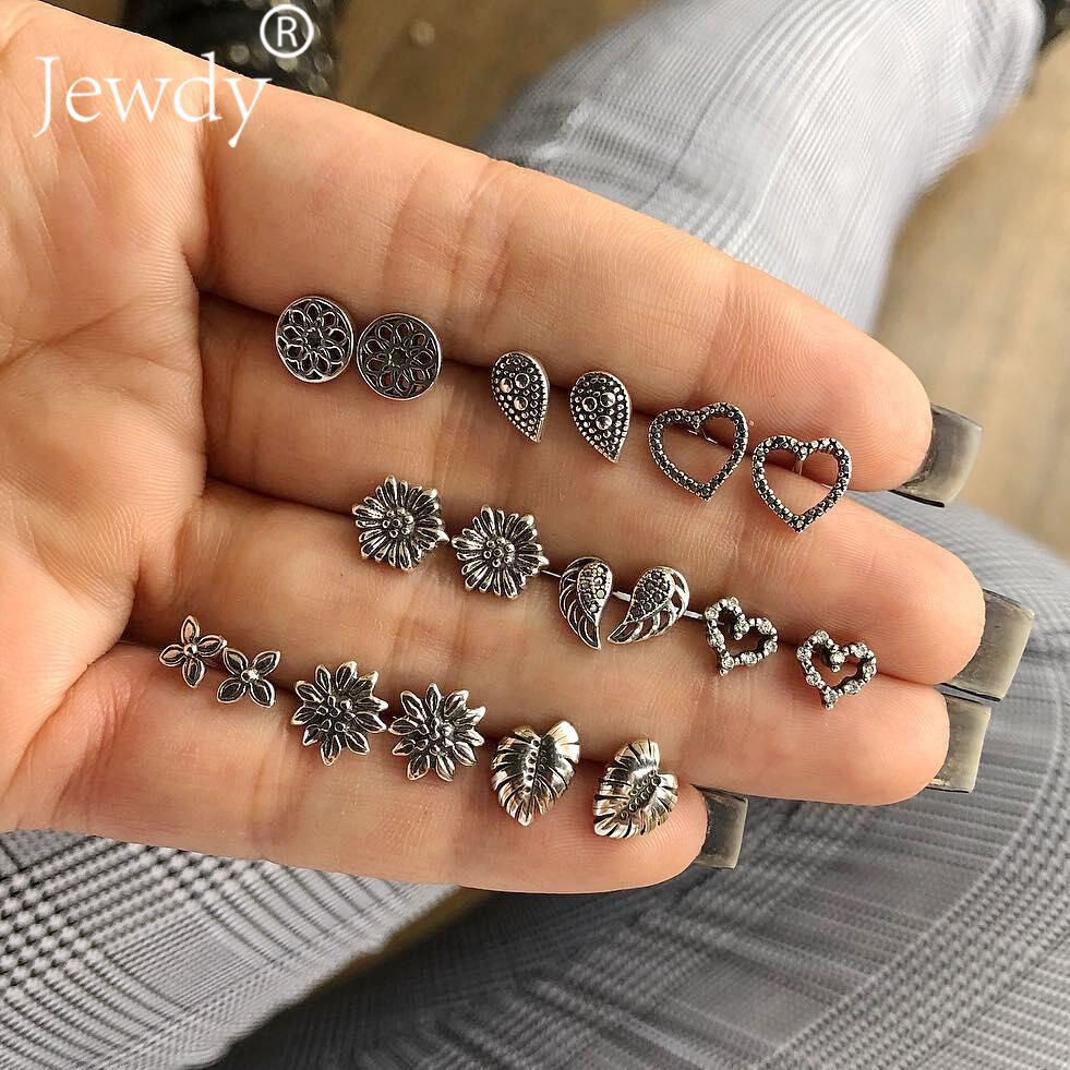 9 Pairs/lot Lotus Heart Wings Leaf Unique Design Vintage Small Stud Earrings Set For Women Punk Geometric Animal Ear Aros 2019 earrings