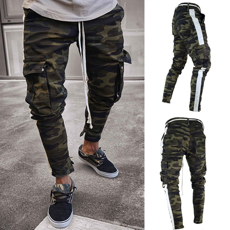 Drop Shipping 2019 New Arrive Men's Pants Army Green Camouflage Slim Long Pants Patchwork Casual Jeans Men Street-wear SA-8