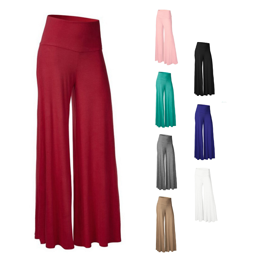 Women Plus Size Wide Leg Palazzo Pants Culottes Plain Elastic High Waist Trouser