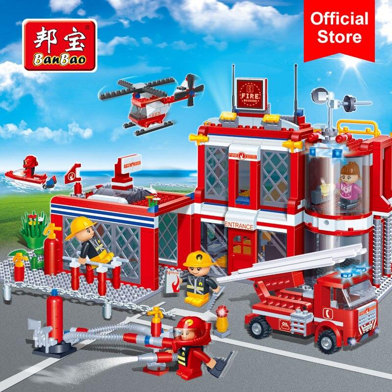 BanBao Cidade Estação de Fogo Caminhão de Bombeiros Helicóptero Boat Building Blocks Educacionais Tijolos Brinquedos Modelo 8311 Crianças Presentes para Crianças