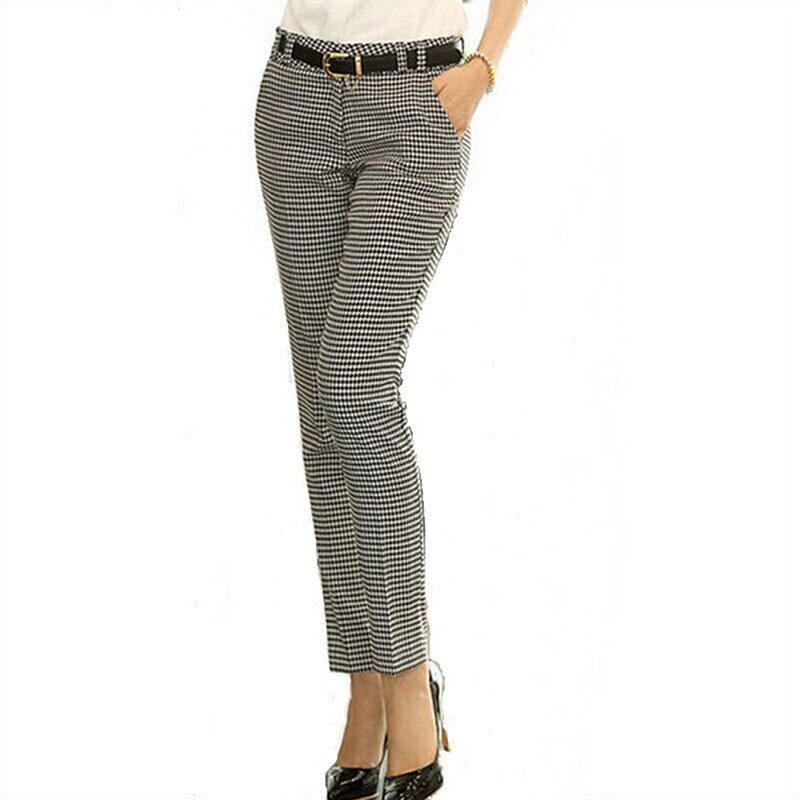 2019 Spring Summer Autumn Women Slim Casual Pants Work Wear Career Houndstooth Pants Straight Pencil Pants Women trousers female-in Pants & Capris from Women's Clothing