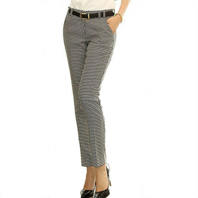 2020 Spring Summer Autumn Women Slim Casual Pants Work Wear Career Houndstooth Pants Straight Pencil Pants Women trousers female