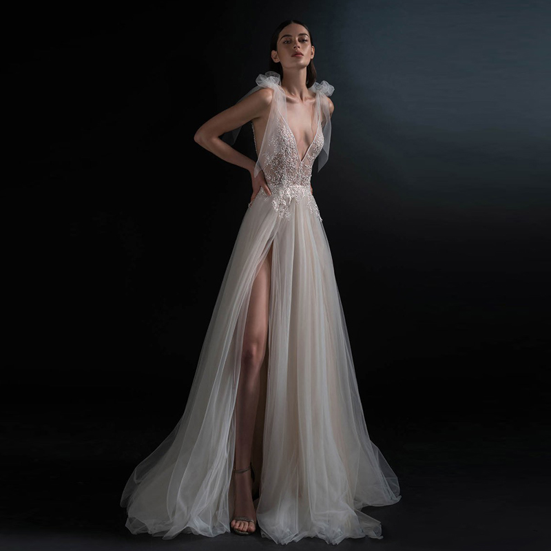 c87990a1ba Hot Cheap Vestido de noiva Fairy A Line Wedding Gowns Sexy V Neck Backless  Side Slit. US $99.00. 7 orders. Chinese traditional Clothing ...