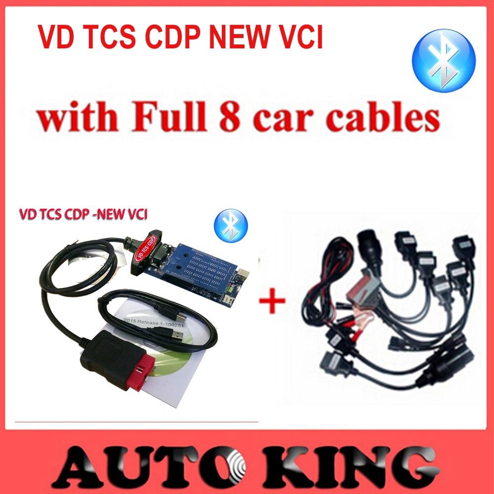 imágenes para 2017 tcs cdp + cables del coche Completo 8 unids vd 2015.1 software para autos camiones herramienta de diagnóstico obd obd2 bluetooth Libre gratis