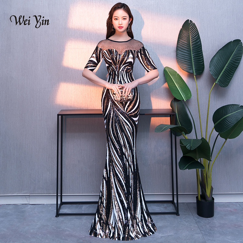 Weiyin 2019 nouveau femmes élégant sirène paillettes robe demi manches sirène robes de soirée fête longue robe de bal WY1463