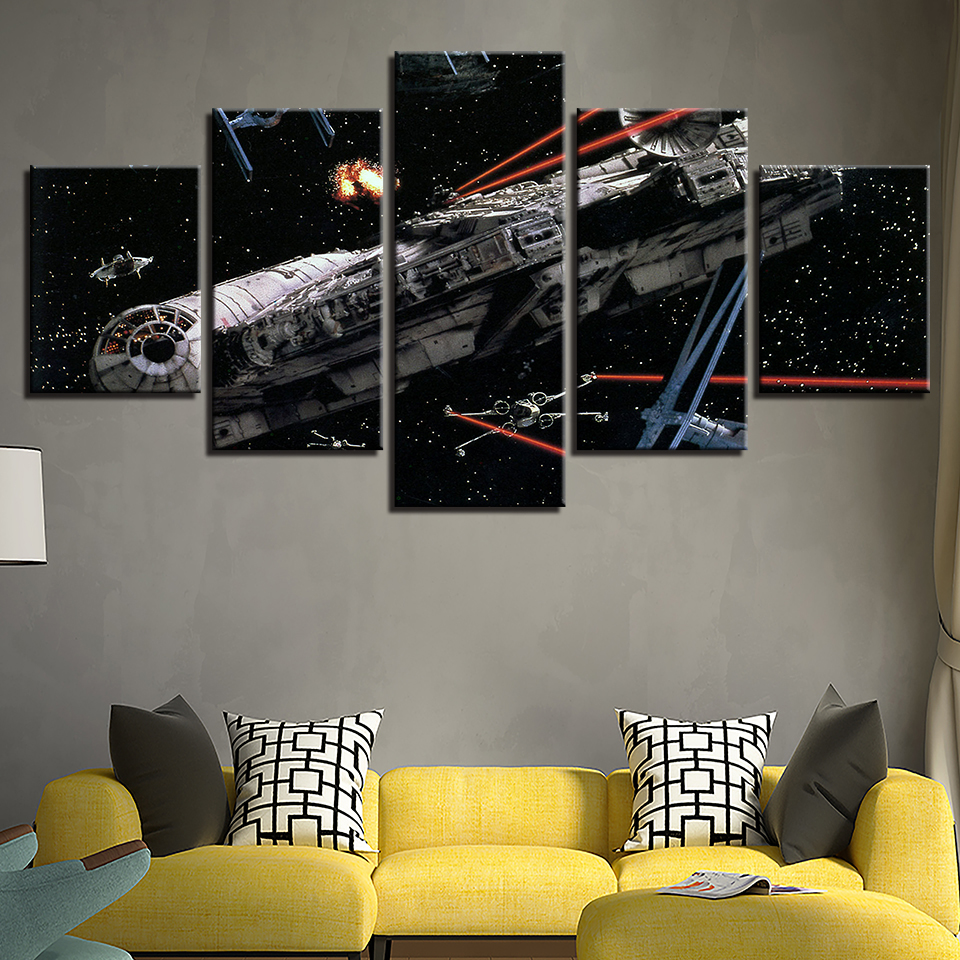 101c2d16eb0 5 Pieces Millennium Falcon X-Wing Star Wars Canvas Print Wall Art ...