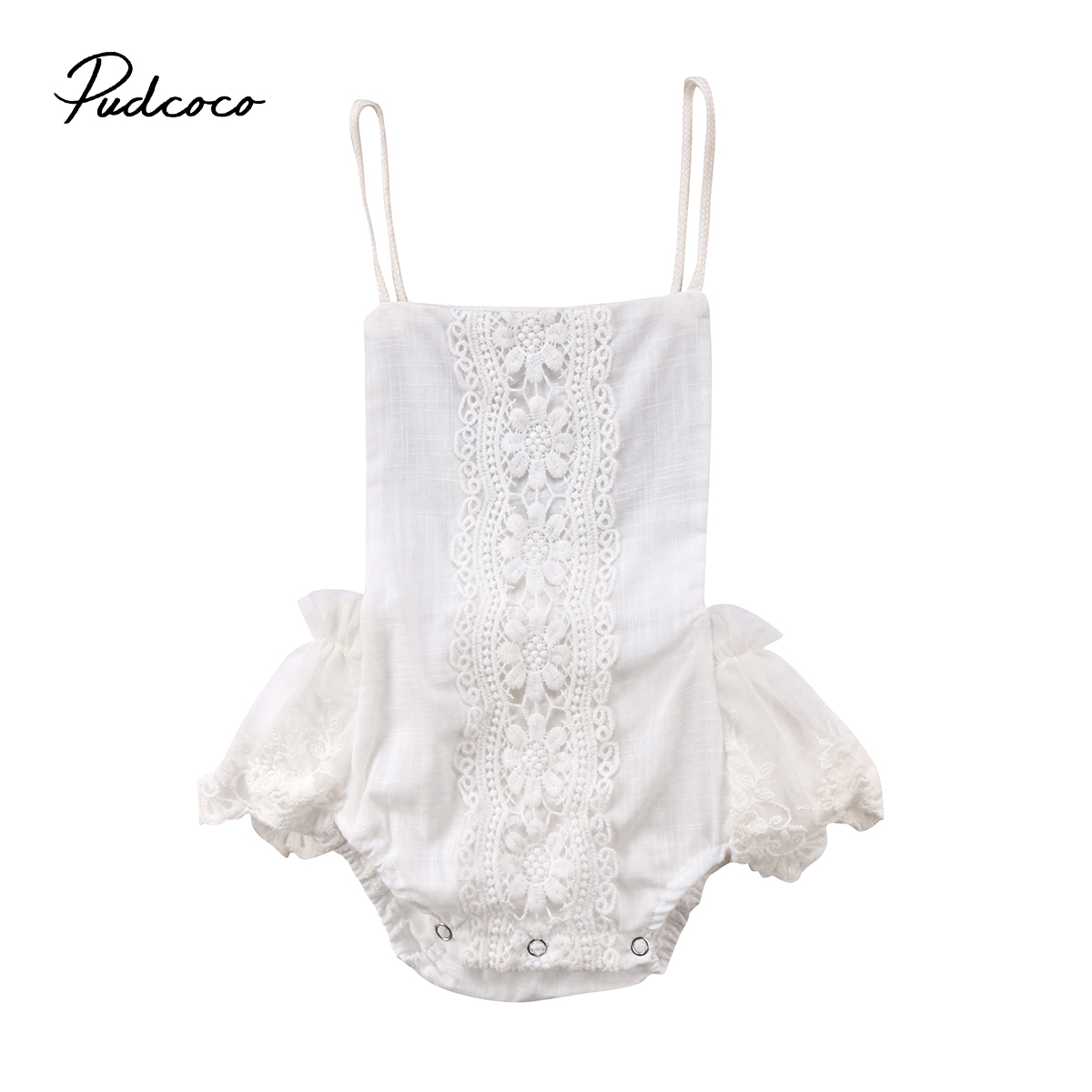 Pudcoco Newborn Baby Girls Clothes Girls Lace Ruffle Romper Playsuit Backless Sunsuit Outfits White white sleeveless mesh and lace overlay details playsuit
