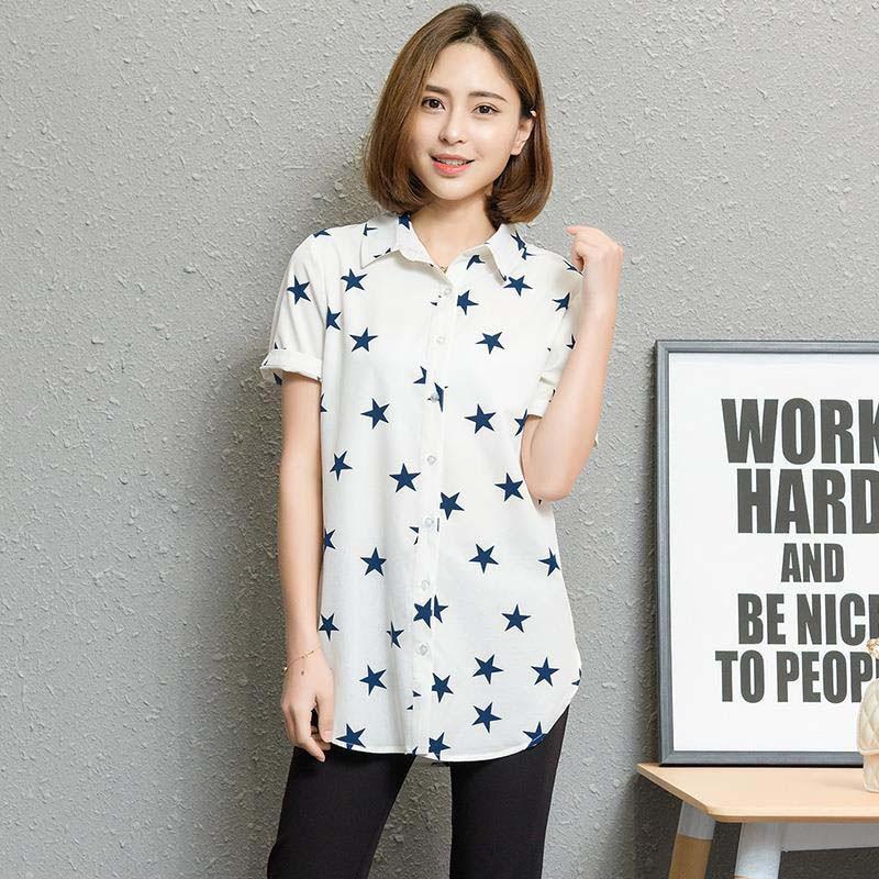 Long Style Women Spring Summer Chiffon   Blouses     Shirts   Lady Casual Polka Dot Stars Birds Printed Blousas Tops Feminina DF1688