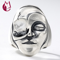 2019 Vintage One Eye Human Face Adjustable Toe Rings 100% Real 925 sterling silver 925 Jewelry for Women Men engagement rings R6
